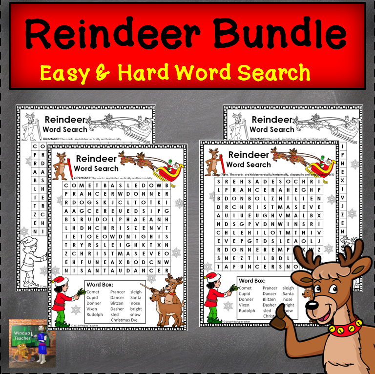 Reindeer Word Searches - Easy and Hard