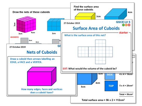 Nets of Cuboids Lessons & Worksheet