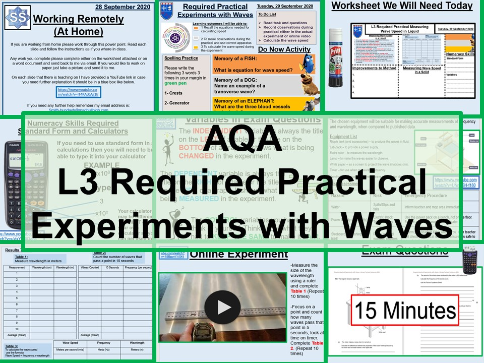 GCSE Physics Required Prac Measuring Waves in a Liquid AQA T6 Lesson and Worksheets