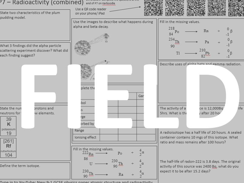 AQA Physics paper 1 revision sheets