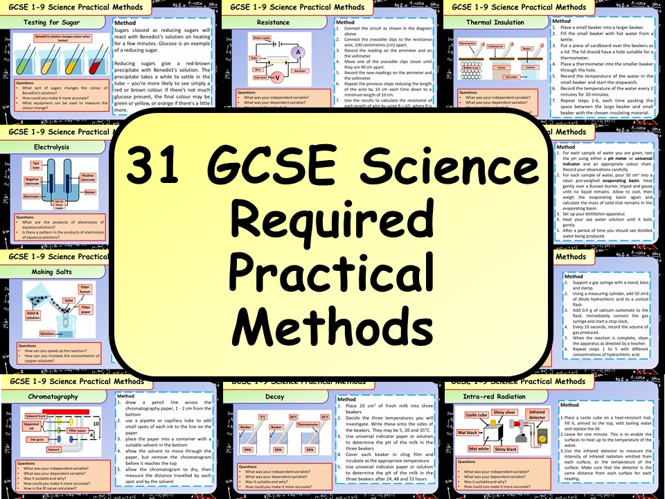 31 GCSE 1-9 Science Required Practical Method Cards