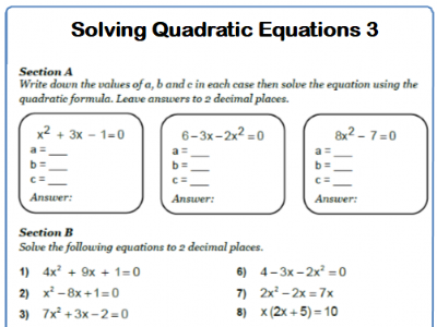 Quadratic Formula 9-1 GCSE Maths Worksheet and Answers