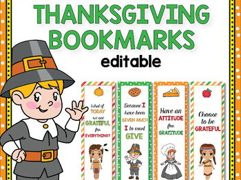 Editable Thanksgiving Bookmarks Editable