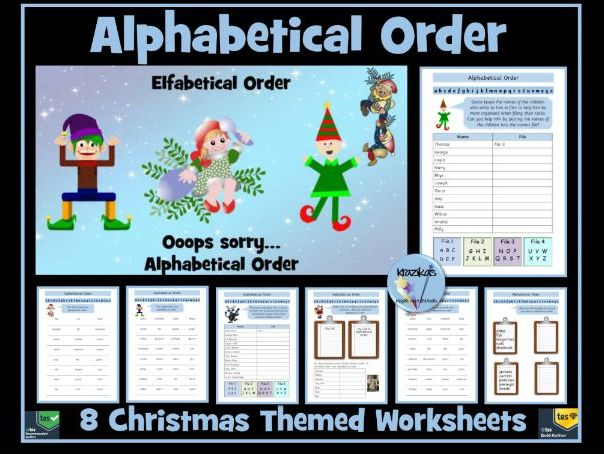 Alphabetical Order - Christmas Themed Worksheets