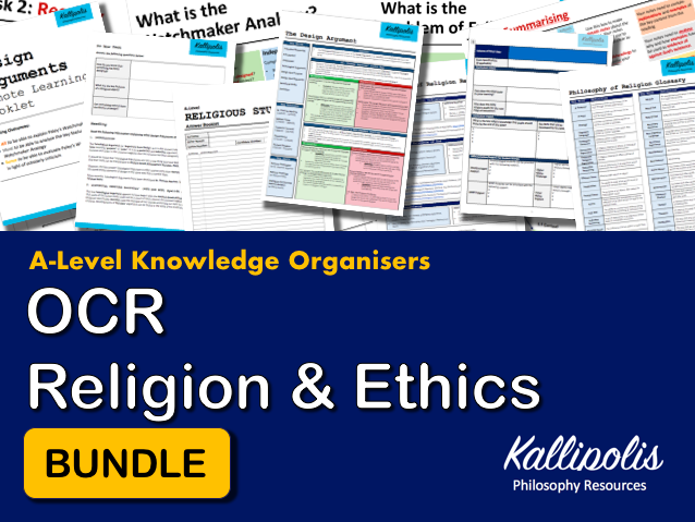 OCR Religious Studies KS5 Knowledge Organisers - Unit 2  Religion & Ethics Revision Pack