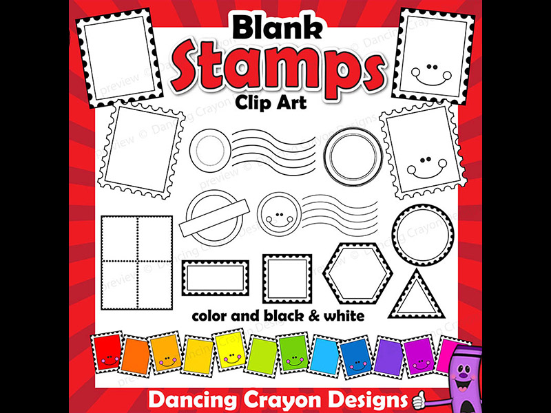 Clip Art Postage Stamps Clip Art Bundle - Blank Templates and Overlays