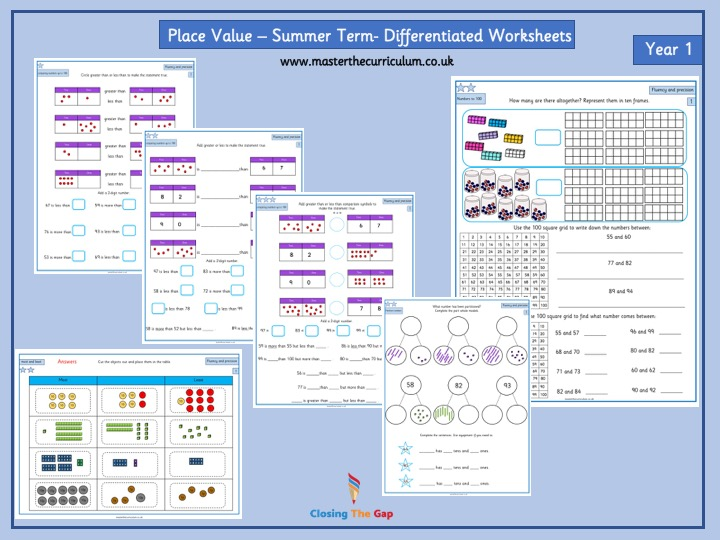 Year 1 Place Value Differentiated Worksheets- Numbers to 100