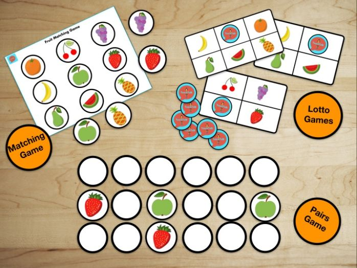 Early Years Printable Fruit Matching, Lotto and Pairs Games. Gorgeous and bright. EYFS.