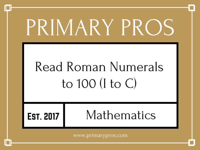 Read Roman Numerals to 100 (I to C)