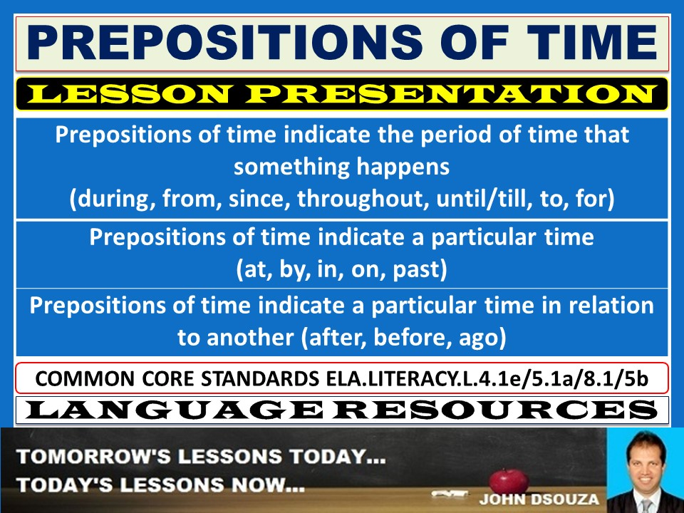 PREPOSITIONS OF TIME LESSON PRESENTATION