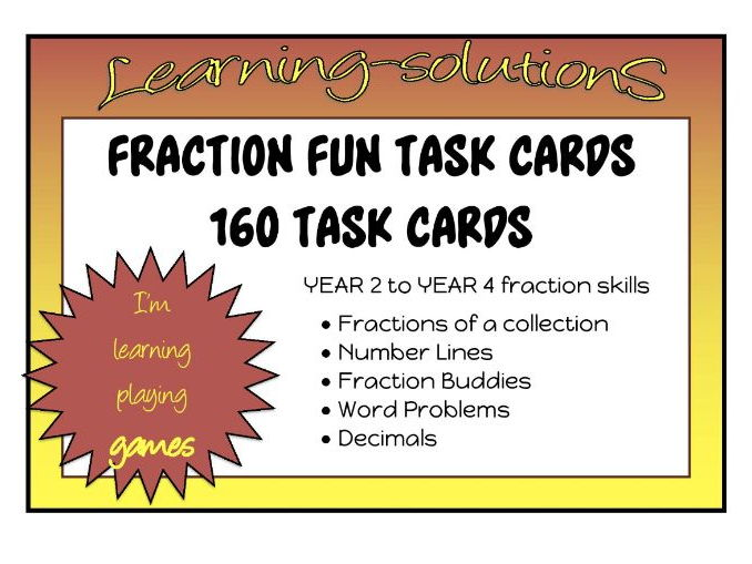 FRACTIONS TASK CARDS - 160 Task Cards - 3 Skill Levels - Student Recording Sheet + Answers