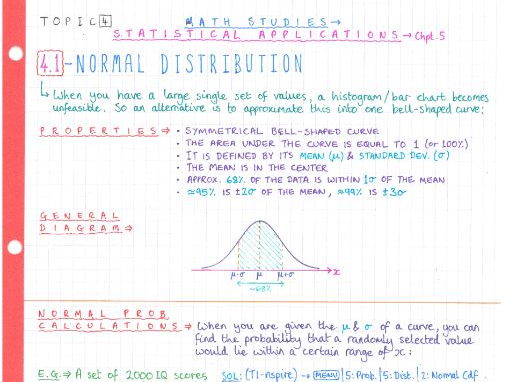 IB Maths Studies SL - Topic 4 - Statistical Applications - Notes