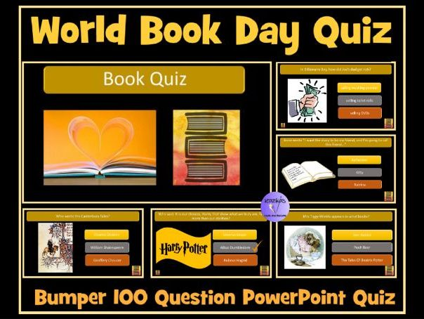 Book Quiz - 100 Questions- Ideal For English End of Term Quiz