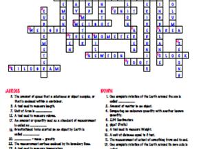 Measurement - Crossword