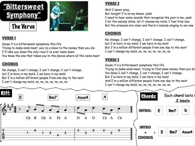 Britpop group lead sheets (Oasis, Blur & The Verve)