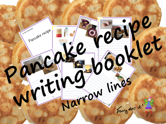 Pancake recipe writing booklet with narrow lines