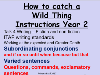 'How to Trap a Wild Thing Instructions' year 2 TAF