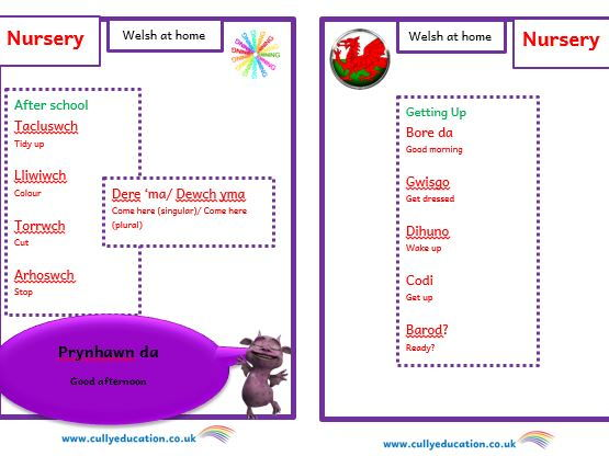 Welsh at home Booklets and Audio files for Parents - Nursery