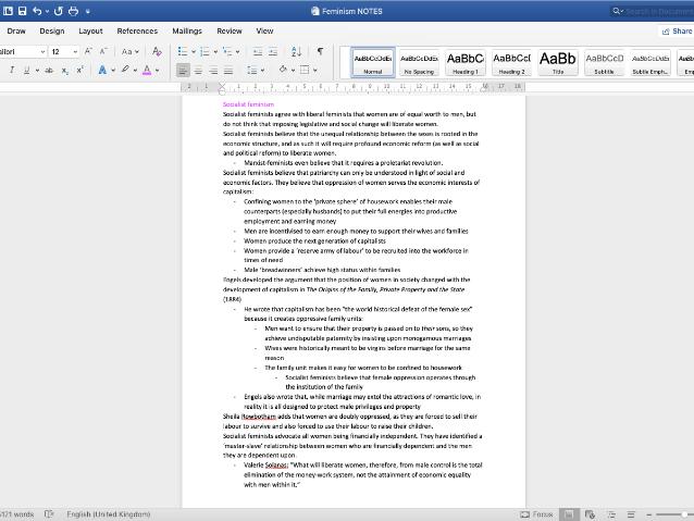 Feminism Notes: Edexcel A2 Gov & Pol Unit 3