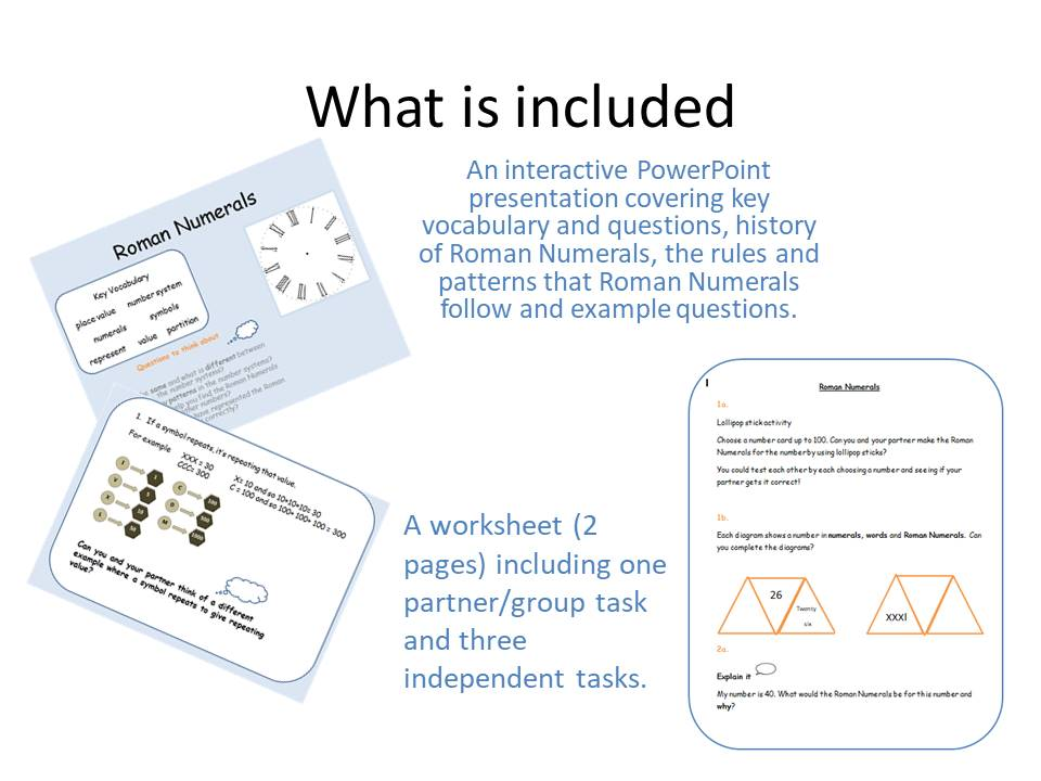 Roman Numerals PP and Worksheet Year 4