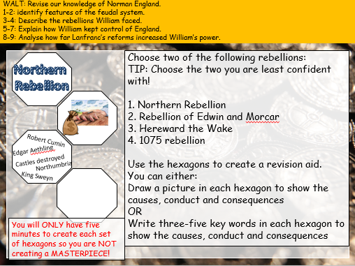 End of Unit Consolidation  (Edexcel 9-1: Anglo-Saxon and Norman England)