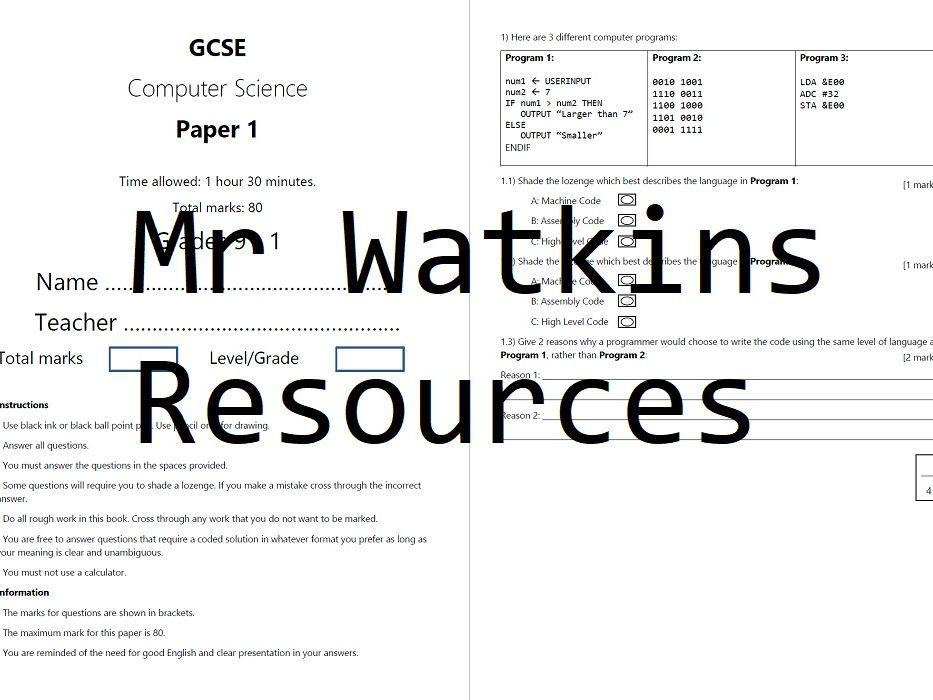 GCSE Computer Science Assessment Exam Paper Bundle AQA NEW Spec Grades 9 - 1 including mark schemes