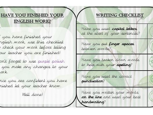 Maths and Writing Checklist (Fab Finishers)
