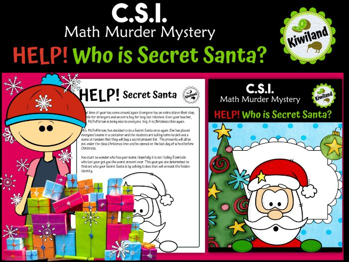 CSI Math Murder Mystery - HELP! Who is Secret Santa? - Christmas