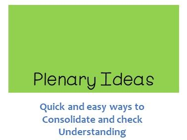 Plenary Activities - Consolidate and Check Understanding