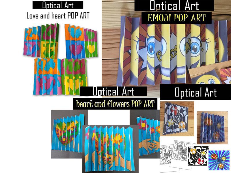 Optical illusion activities in Pop Art style