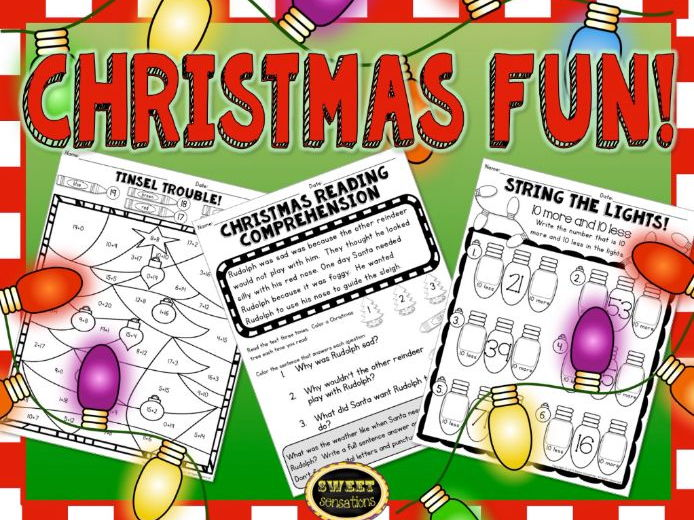 Christmas Fun Worksheets for Year 2 and 3