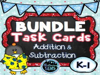 Addition and Subtraction Task Card Bundle Winter Theme - K - 1