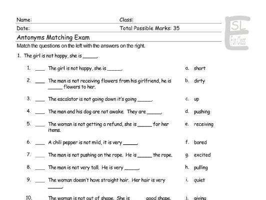 Antonyms-Opposite Actions Matching Exam