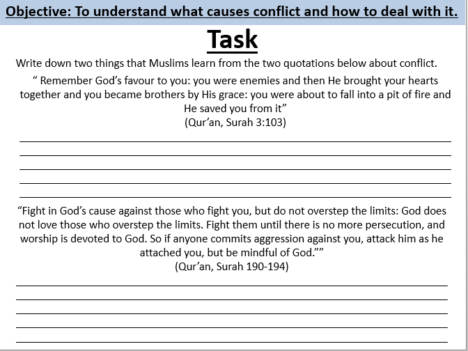 Islam and conflict lesson