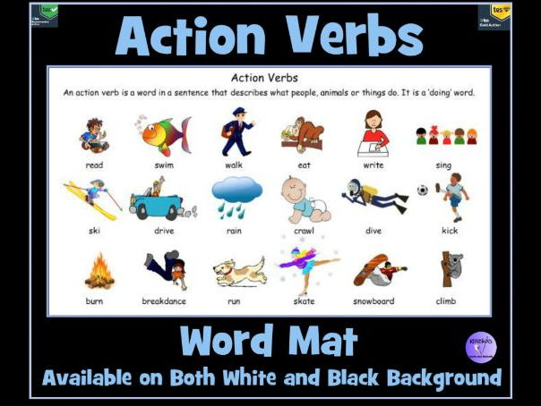 action verb word mat by krazikas