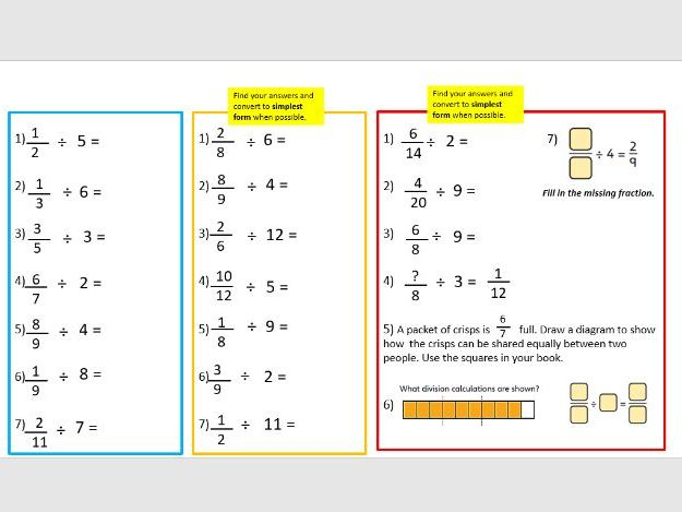 Divide fractions year 6 lesson 4