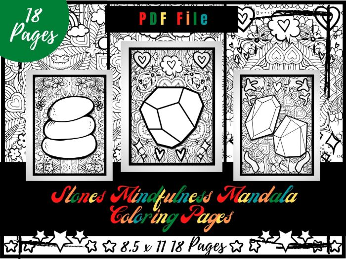Stones Mindfulness Mandala Colouring Pages, Stones Colouring Printable Sheets PDF
