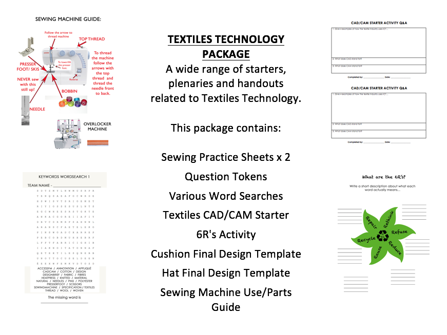 Comprehensive Textiles Technology Handouts, Starters & Tools Suitable for Cover Lessons