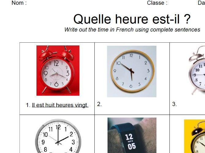 Telling Time Worksheet: French