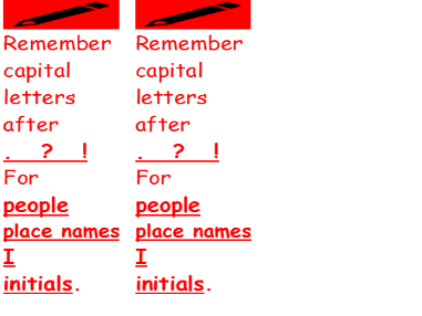 Margin markers - Capital letters - Marking for literacy.