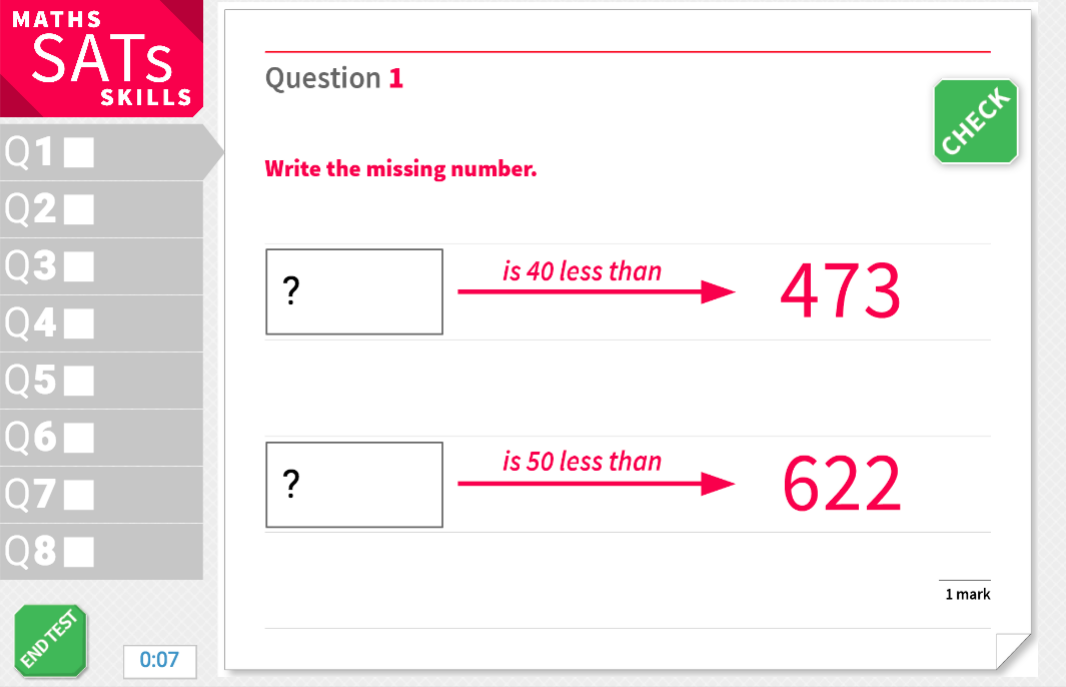 10 or 100 more or less than a number - KS2 Maths Sats Reasoning - Interactive Exercises