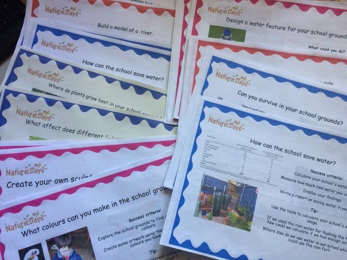 Nature Days Outdoor Learning independent challenge cards.