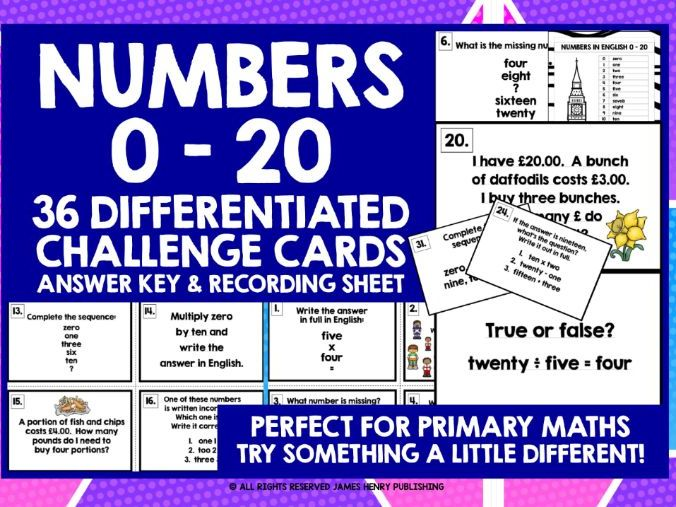 PRIMARY MATHS NUMBERS 0-20 CHALLENGE CARDS