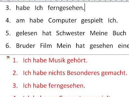 German perfect tense unjumble sentences