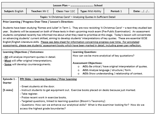 Lesson Plan Template / Completed Example