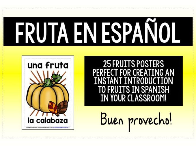 SPANISH FRUITS 25 FLASHCARDS / POSTERS