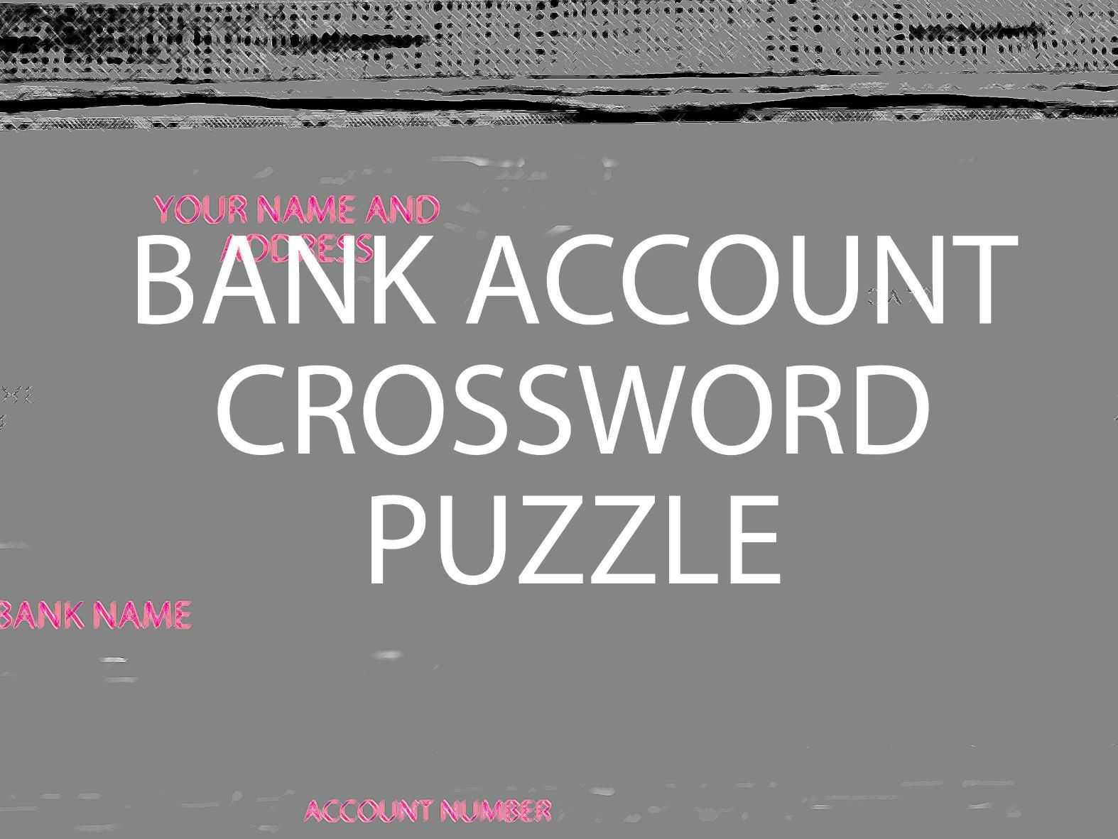 Bank Account, Earning Money and Starting Work crossword puzzles bundle