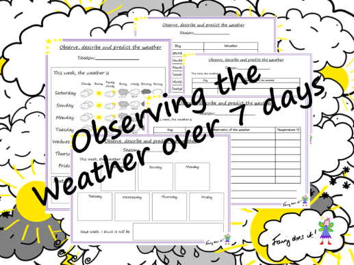 Weather observation recording sheets – record over 7 days