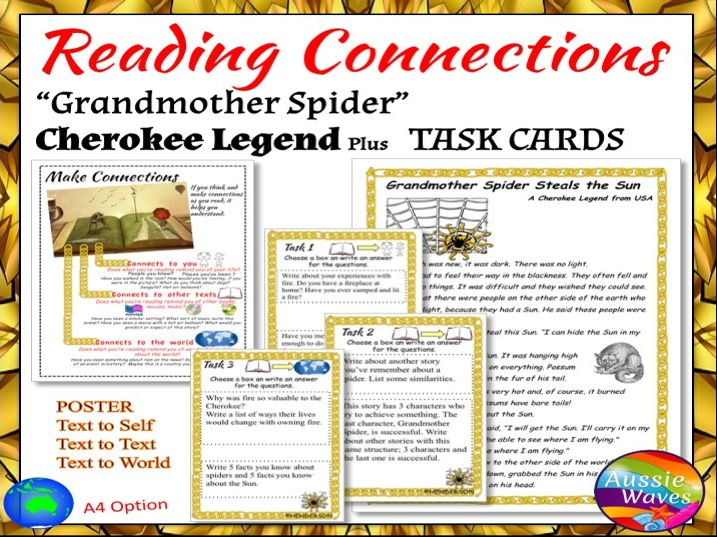 "Myths US Cherokee Legend ""Grandmother Spider"" Text & Task Cards Close Questions"