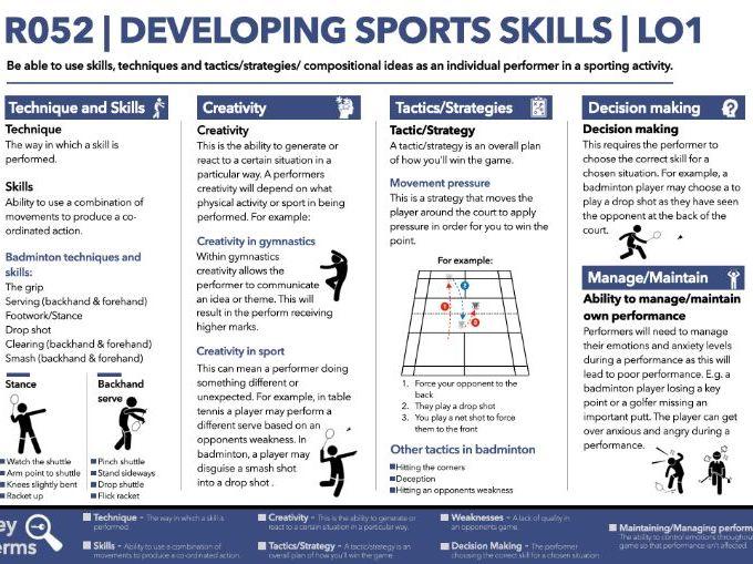 R052   OCR Sports Studies   Knowledge organiser    Developing Sports skills   LO1